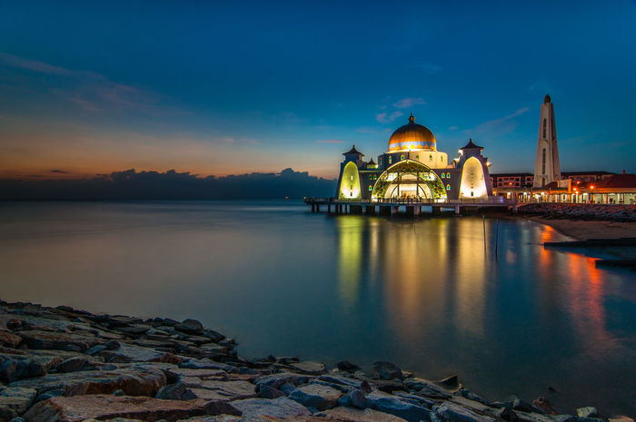 Floating mosque during sunset Archetecture Architecture Building Exterior Built Structure Cloud Floating Mosque Islam Malaysia Melaka Mosque Outdoors Reflection Sea Sky Sunset Water Waterfront