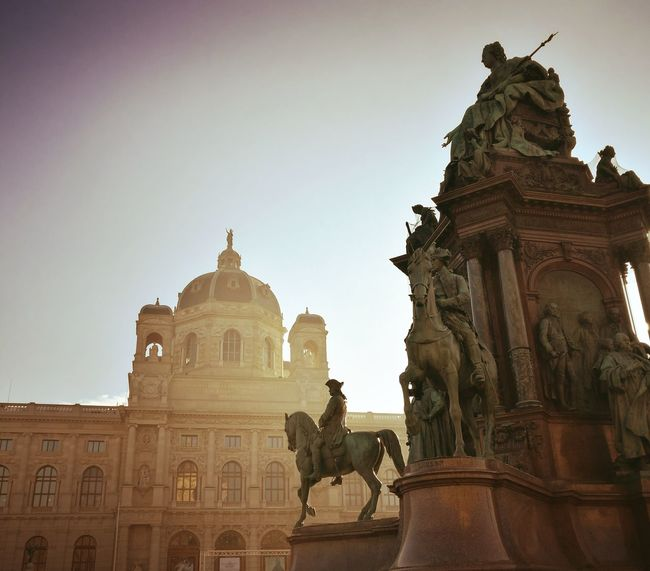 Architecture Statue Travel Vienna MariaTheresienPlatz Mariatheresia Sculpture Sky Outdoors Royal Kunsthistorisches Museum Wien Travel Destinations Place Of Worship Tourism City Politics And Government Religion Built Structure Day Guarding King - Royal Person People