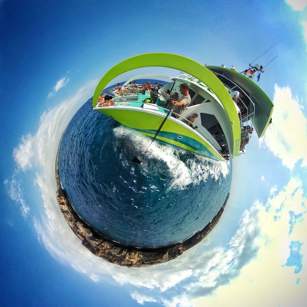 sky, fish-eye lens, cloud - sky, day, outdoors, blue, leisure activity, nature, water, no people