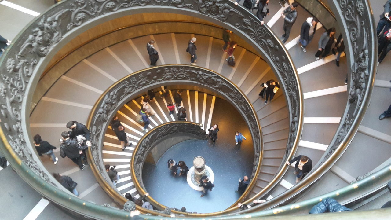 steps and staircases, staircase, steps, railing, spiral, spiral stairs, high angle view, stairs, architecture, built structure, indoors, hand rail, no people, spiral staircase, day