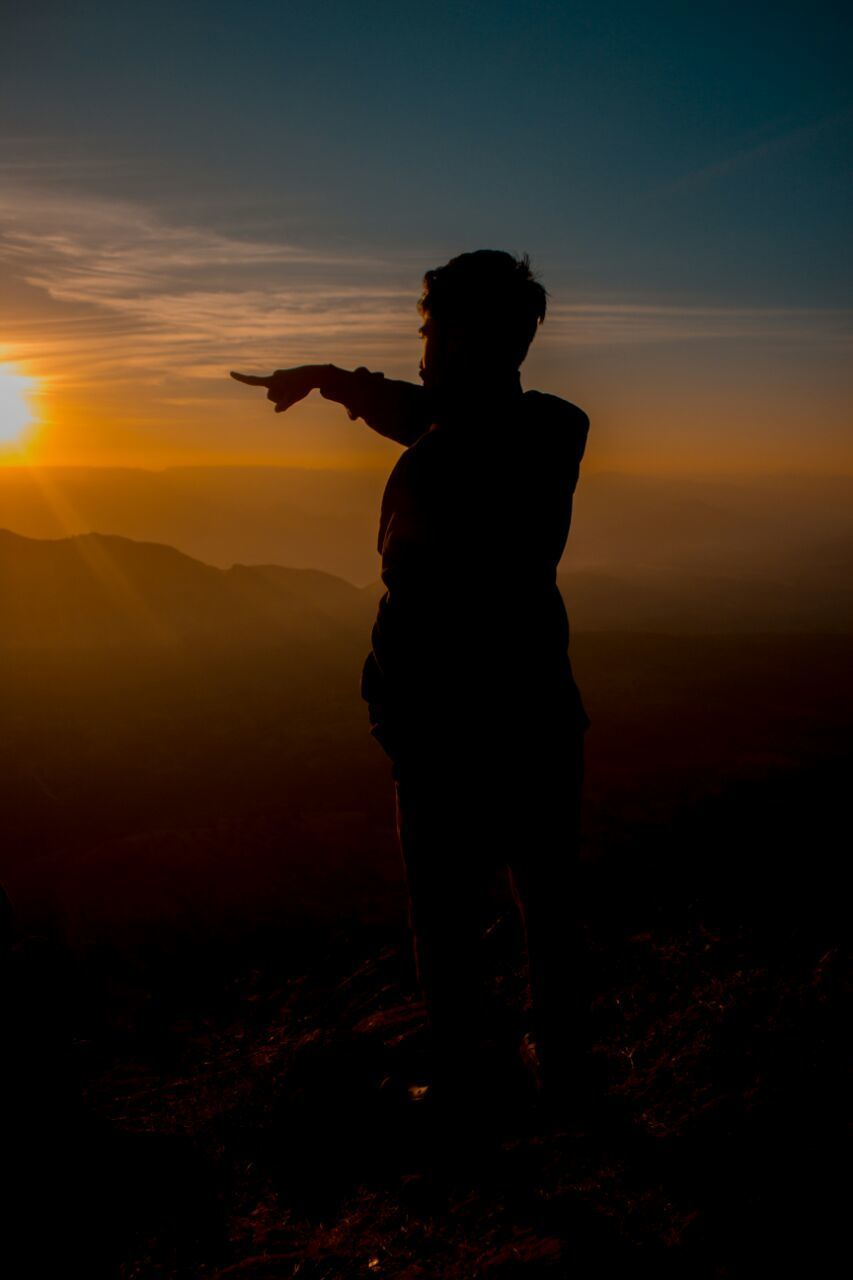 sunset, silhouette, real people, one person, full length, standing, leisure activity, lifestyles, sky, nature, outdoors, men, beauty in nature, photographing, people
