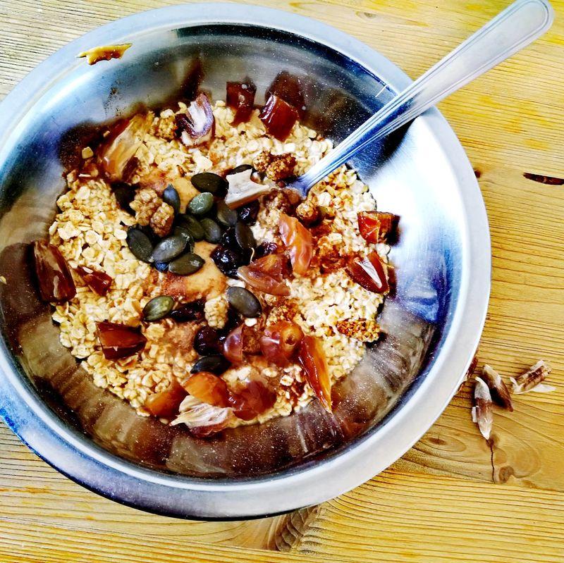 Porridge Dates Mulberries Cranberries Soymilk Cinnamon Vanilla Pumpkin Seeds Breakfast EyeEmNewHere P'titdej Healthy Healthy Eating Food And Drink Freshness Summer Vegan Spoon Inox Bowl Table Ready-to-eat Day
