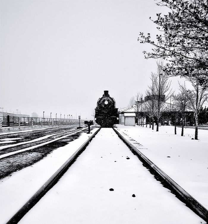 """Big Train from Williams, Big Train from Williams, Now it's gone gone gone, gone gone gone."" Historic Grand Canyon railway Engine in Williams, Arizona during a Winter snow storm. Train Trainengine Railroad Grand Canyon Railway Black And White Photography Blackandwhite Photography Blackandwhite Black And White Winter Snow"