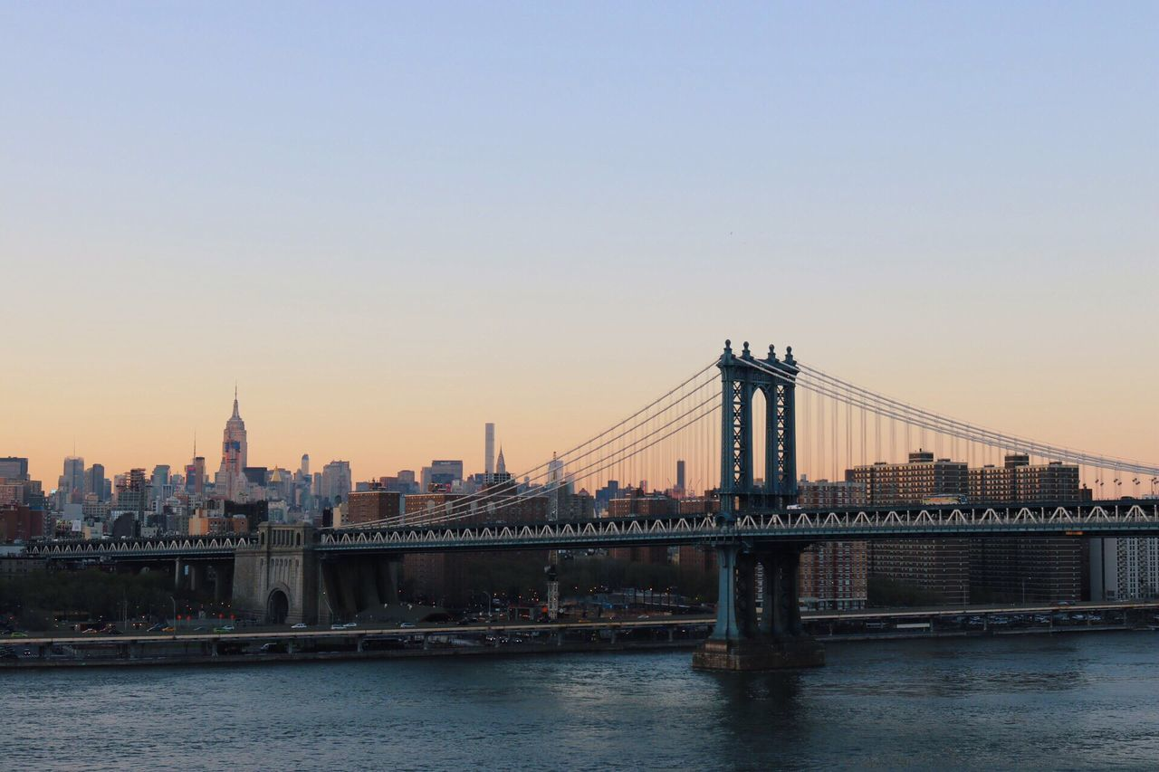 Magic. Skyline New York City Manhattan Bridge Sundown Cityscapes View Urban Landscape Iconic Landmark Mood Captures Skyscrapers Travel Destinations Travel Photography Urban Scene No People