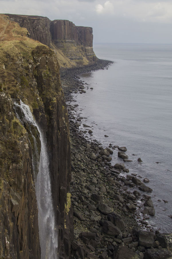 Kilt Rock Beach Beauty In Nature Cliff Coastline Horizon Over Water Idyllic Kilt Rock Landscapes With WhiteWall Nature Non-urban Scene Remote Rock Cliff Landscapes Rock - Object Rock Formation Scenics Sea Shore Sky Tranquil Scene Tranquility Water Wave The KIOMI Collection