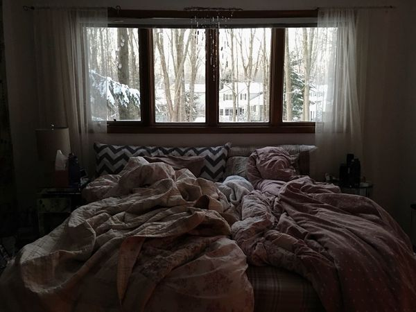 Bed Bedroom Blankets Comfortable Cozy Curtains Home Home Interior Indoors  Messy Pillow Relaxation Resting Sheet Warm Warmth Windows Winter