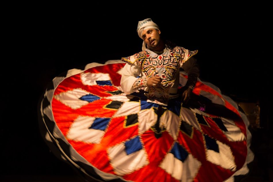 Derwish Dance Human Representation Dubai Black Background Illuminated