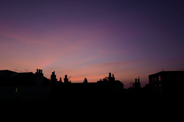 Silhouette Sunset Built Structure Architecture Building Exterior Outdoors Sky Nature Day Chimney Pots