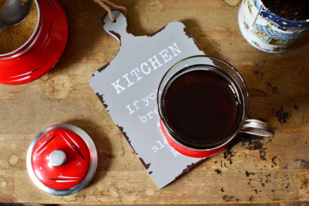 Ascetism Black Tea Dry Drink Food And Drink Glass Holder Hot Drinks Indoors  No People Red Color Sugar Bowl Tea For One Tea In A Glass Teatime Wooden Tabletop
