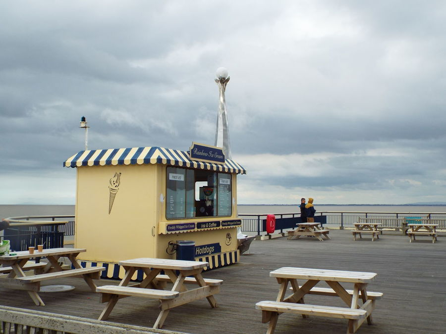Somewhere to buy an ice cream at the end of Southport Pier Ice Cream Shop Pier Grey Sky Grey Clouds Sea
