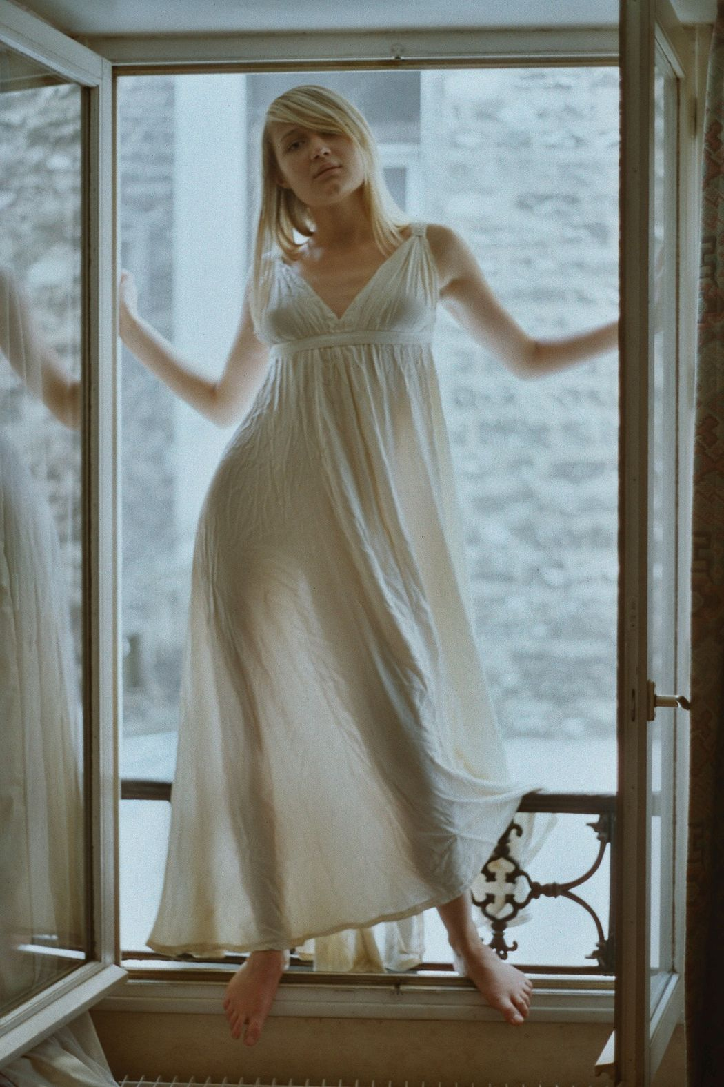 a window Adult Adults Only Barefoot Beautiful Woman Beauty Blond Hair Erotic_art Erotic_photo Fine Art Photography Full Length Hotel Hotel Window Indoors  One Person One Young Woman Only Paris Portrait Portrait Of A Woman Real People Standing Standing In Window Transparent Dress Women Young Adult Young Women
