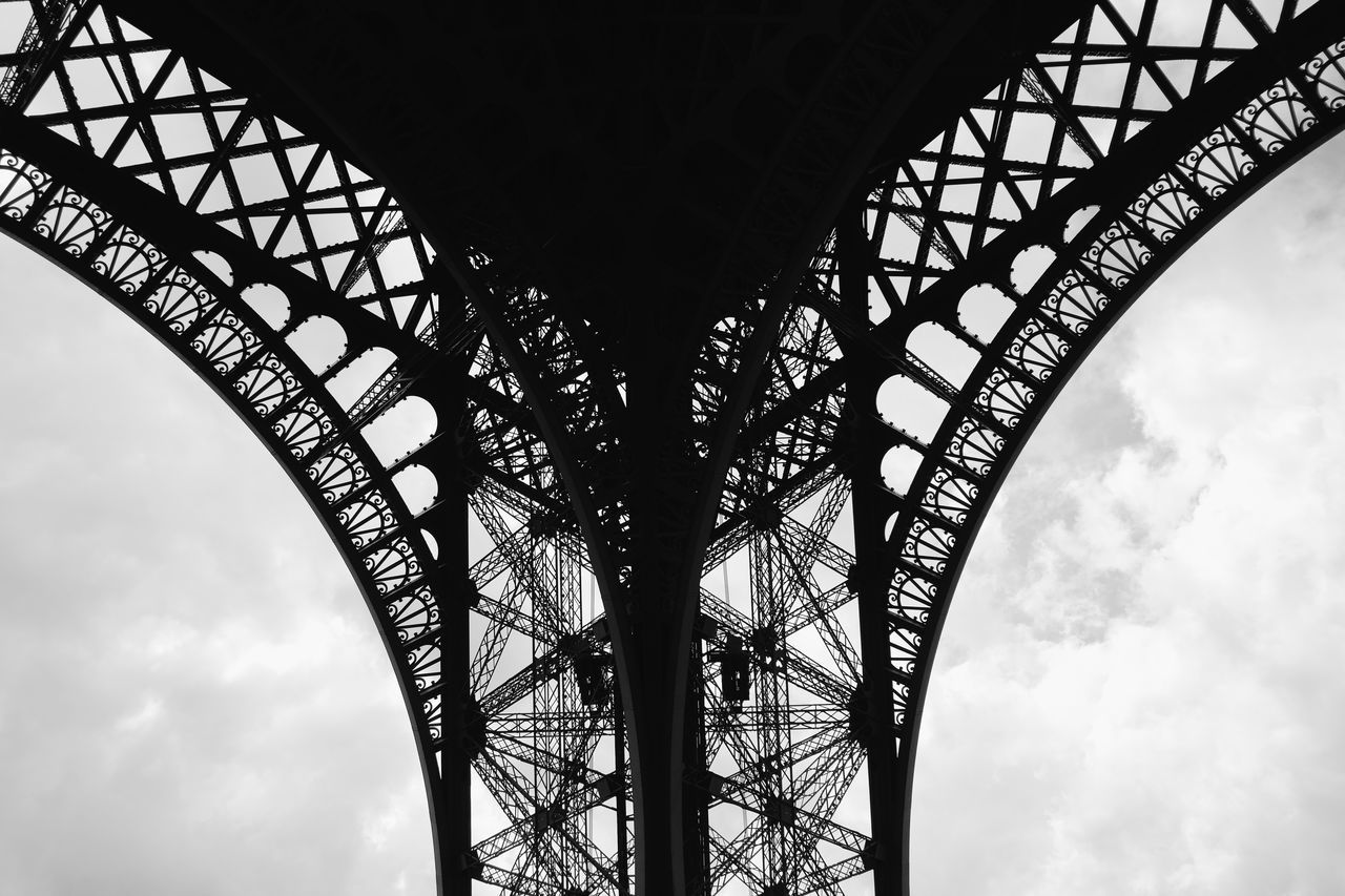 Architecture Bridge - Man Made Structure Built Structure City Connection Day Eiffel Tower Engineering France Low Angle View Metal No People Outdoors Paris Paris, France  Silhouette Sky Travel Travel Destinations