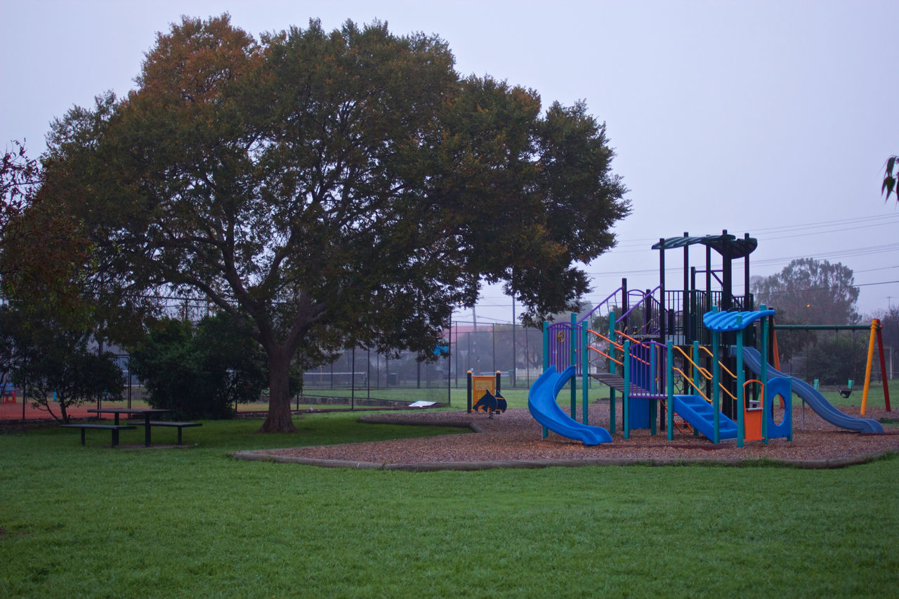Absence Australia Childhood Day Fog Foggy Foggy Day Foggy Landscape Foggy Morning Foggy Weather Grass Melbourne Nature No People Outdoor Play Equipment Outdoors Park - Man Made Space Playground Sky Slide Sunshine Swing Tree Victoria