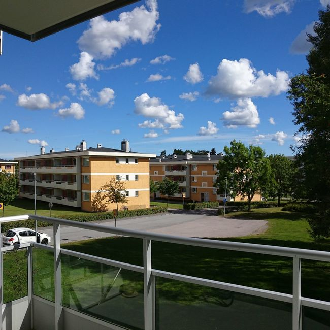 The view from my balcony today. Summer ☀ Summer Swedish Summer Blue Sky Clouds And Sky Taking Photos View From The Window... No Filter, No Edit, Just Photography
