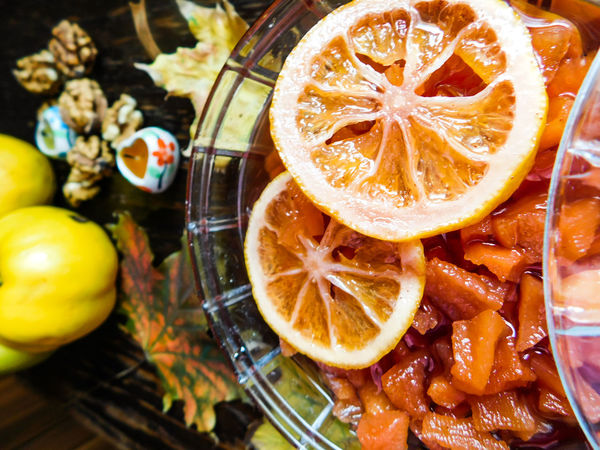 Autumn ideal Autumn Nuts Background Close-up Decoration Fall Food Food And Drink Freshness Fruit Healthy Eating Ideal Life Indoors  Leaf Leaves No People Nut - Food Orange Color Quince Ready-to-eat Sweet Table Wooden Yellow