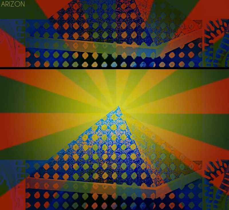 My New Cover. Sun Sunshine Piramid Colorful Red Yellow Black Arizon Multi Colored Triangle Shape Backgrounds Vibrant Color No People Nature Pattern