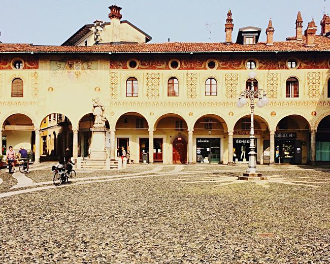 Another View of the Piazza Ducale in Vigevano Building Exterior Architecture Built Structure Outdoors Day Clear Sky People Italy Unknown Travel Destinations Places To See Before You Die Places To Visit Hidden Beauty Hidden Gems  Bramante Rinascimento Reinessance Tourism