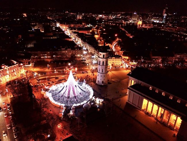 Vilnius Christmas tree 2017 Night Illuminated High Angle View Outdoors Building Exterior Architecture Built Structure No People City Christmas Decoration Cityscape Water Nature Sky