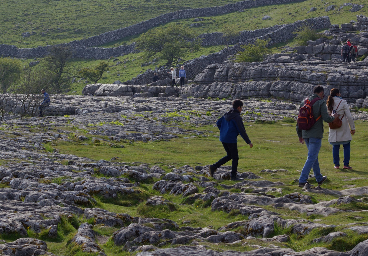 Real People Nature Lifestyles Outdoors Beauty In Nature People Togetherness Landscape Scenics Rural Scene Full Length Sky Yorkshire Dales Yorkshire Dales Uk United Kingdom English Countryside Limestone Rocks Limestone Malham Cove Limestone Pavement
