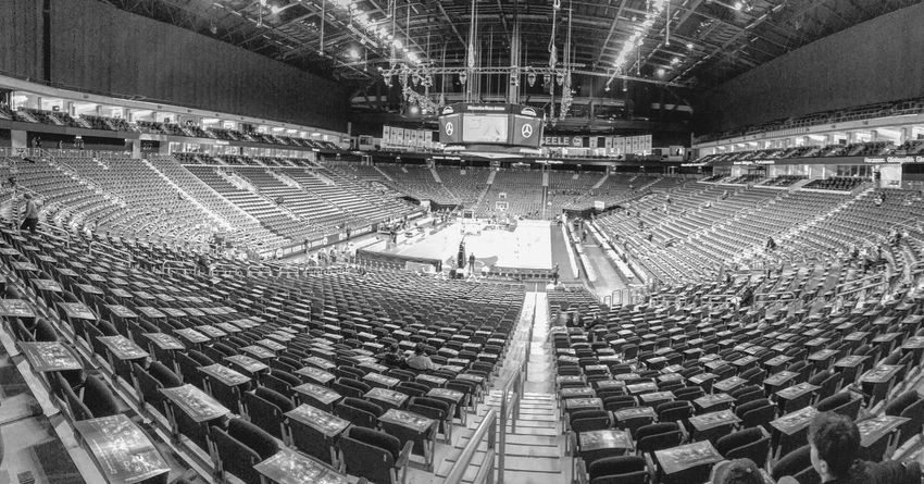 Blackandwhite Arena Indoors  High Angle View Stadium Large Group Of Objects Architecture Crowd Day People