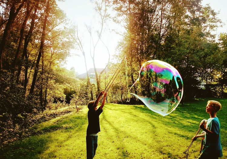 Bubble Tree Soap Sud Child Fragility Grass Nature Playing Outdoors Eyem Nature Lover Sunlight Illuminated Beauty In Nature Shadows & Lights Eyem Masterclass Day Reflection Childhood Children Only Live For The Story