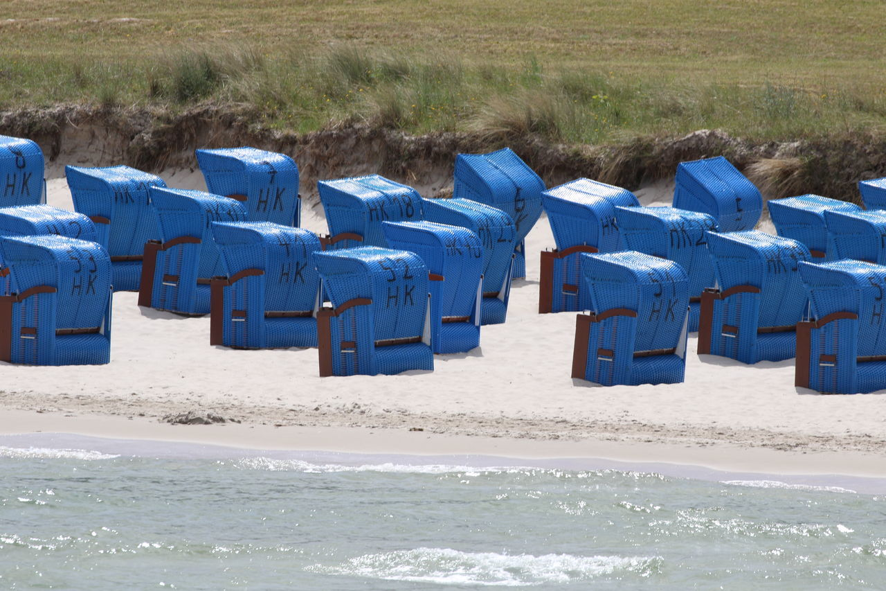 Beach Beach Chairs Blue Day Nature No People Outdoors Sand Scenics Sea Strandkörbe Summer Water