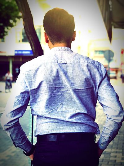 Rear View One Man Only Only Men Standing Men One Person Real People Casual Clothing Adult Human Back Working
