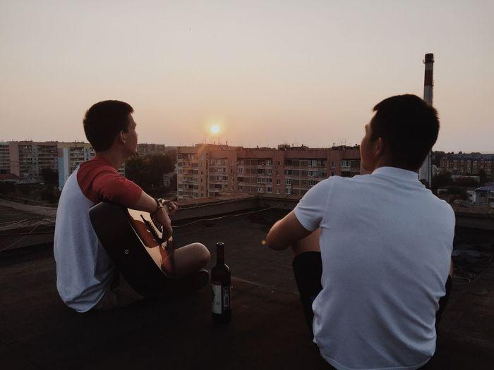 Lifestyles Sunset Friendship Clear Sky First Eyeem Photo