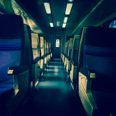 Vehicle Interior Transportation Vehicle Seat In A Row Mode Of Transport Travel Indoors  Train - Vehicle Public Transportation Empty Train Interior Illuminated Journey Seat No People Airplane Seat Subway Train Day one way ticket