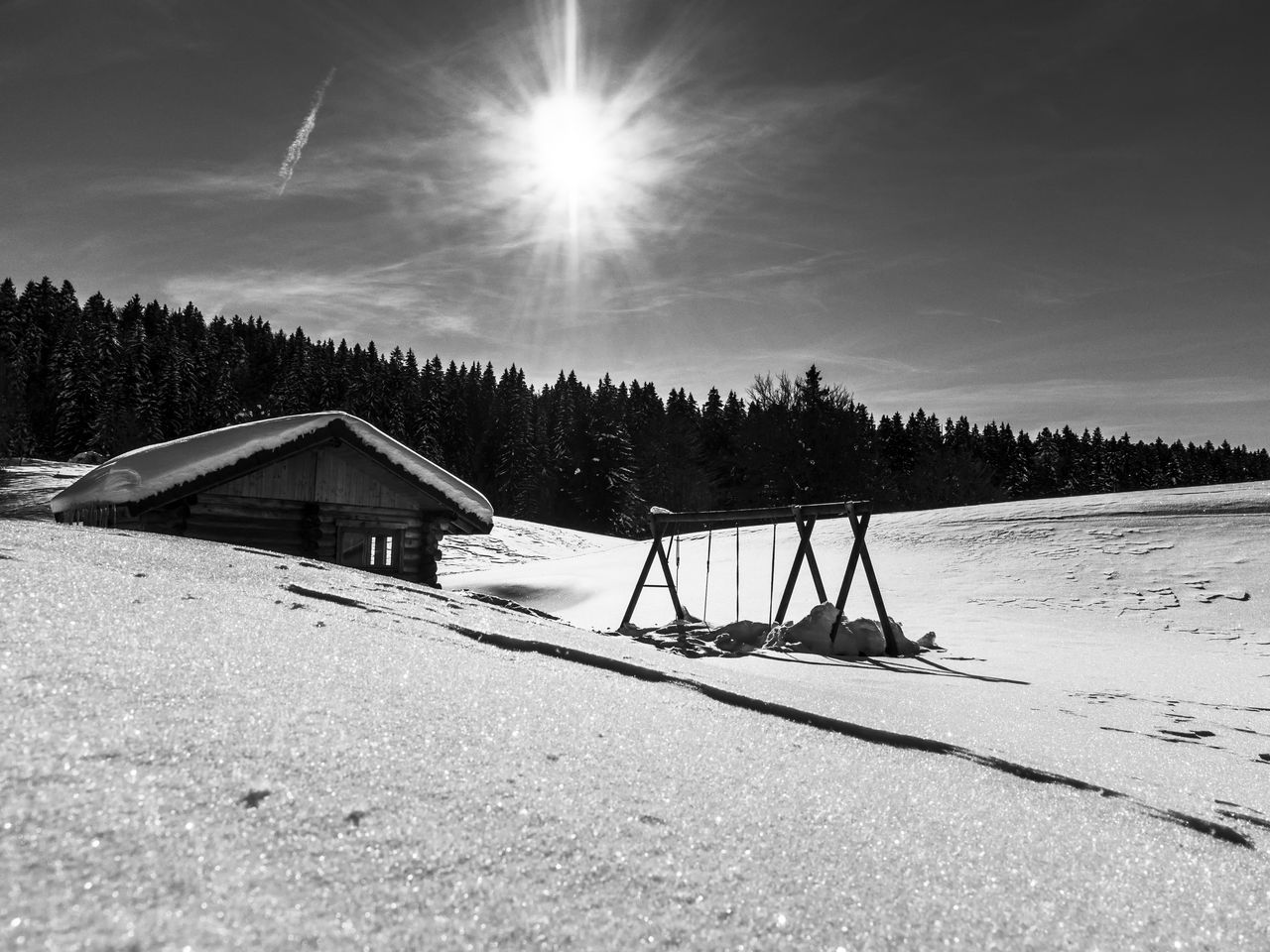 Beauty In Nature Blackandwhite Blackandwhite Photography Cabin Chalet Cold Temperature Landscape Landscape_Collection Nature Nature_collection Neighborhood Map No People Outdoors Scenics Sky The Great Outdoors - 2017 EyeEm Awards Sun Sunbeam Sunlight Swing Tranquil Scene Tranquility Tree Winter