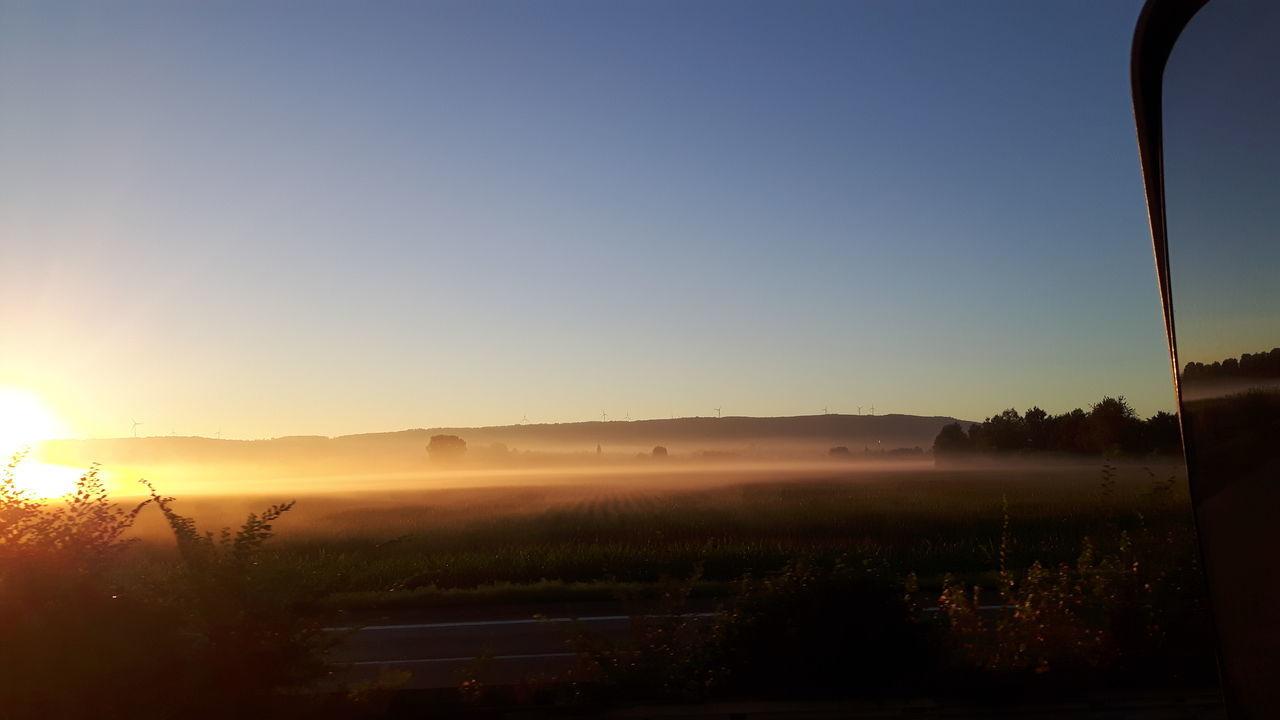 Good Morning Morning Light Ontheroad PhonePhotography Taking Photos Guten Morgen Truckinglife Fieldscape Mist Sunrise