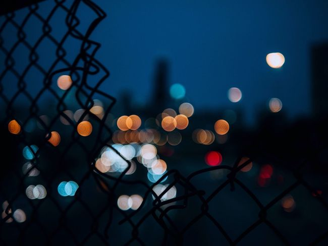 Chicago Nightphotography Colors Bokeh Bokeh Photography City Cityscapes Fence EyeEm Best Shots Cities At Night