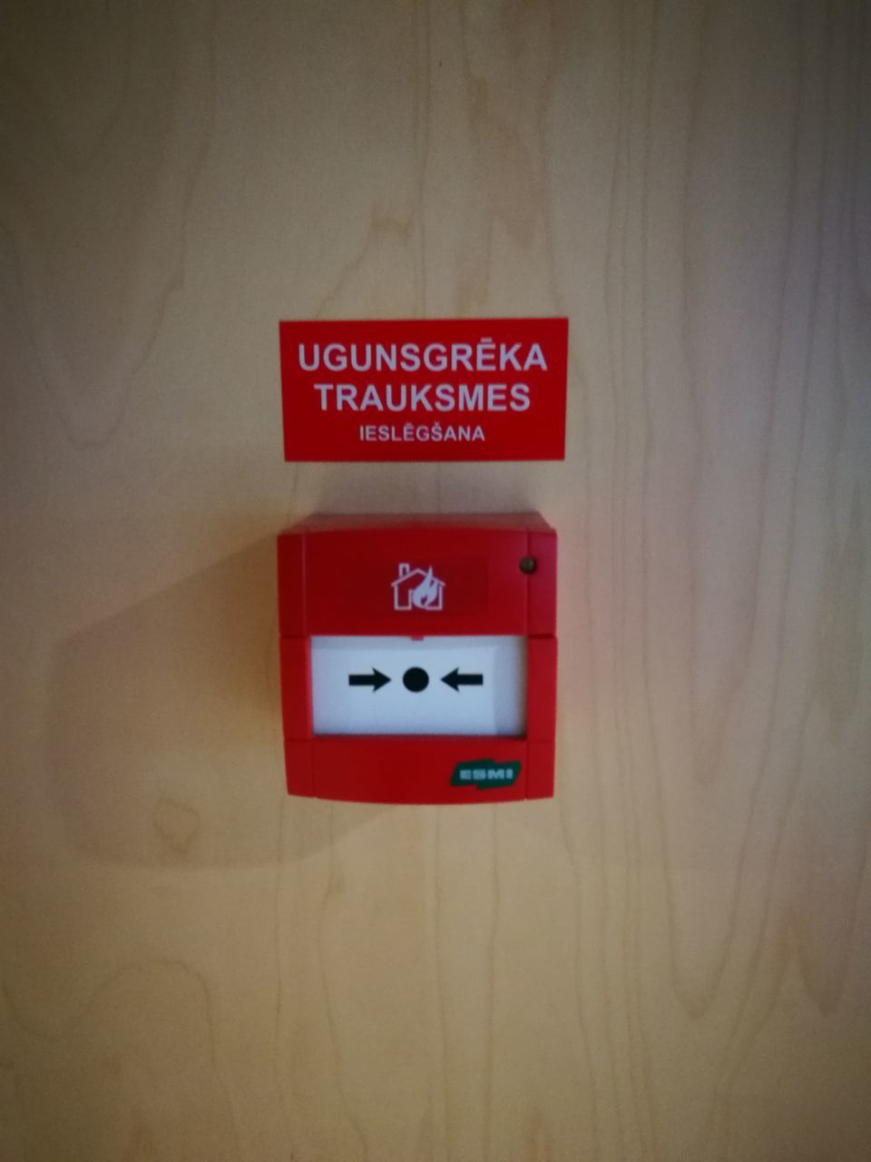 red, communication, fire alarm, wall - building feature, safety, text, indoors, no people, urgency, close-up, day