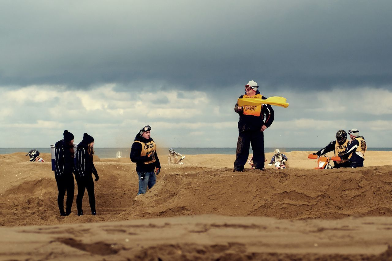 Yellow Flag Beach Day Motorcycles Outdoors People Race RedBull RedbullEvents Sand Sand Dune Sky Teamwork