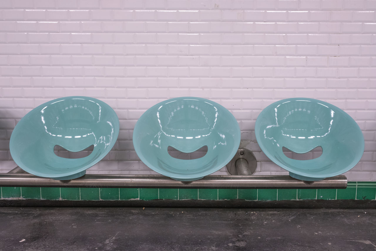 Bench Blue Chair Copy Space Day Empty In A Row Indoors  No People Sitting Subway Station Tiled Wall Waiting