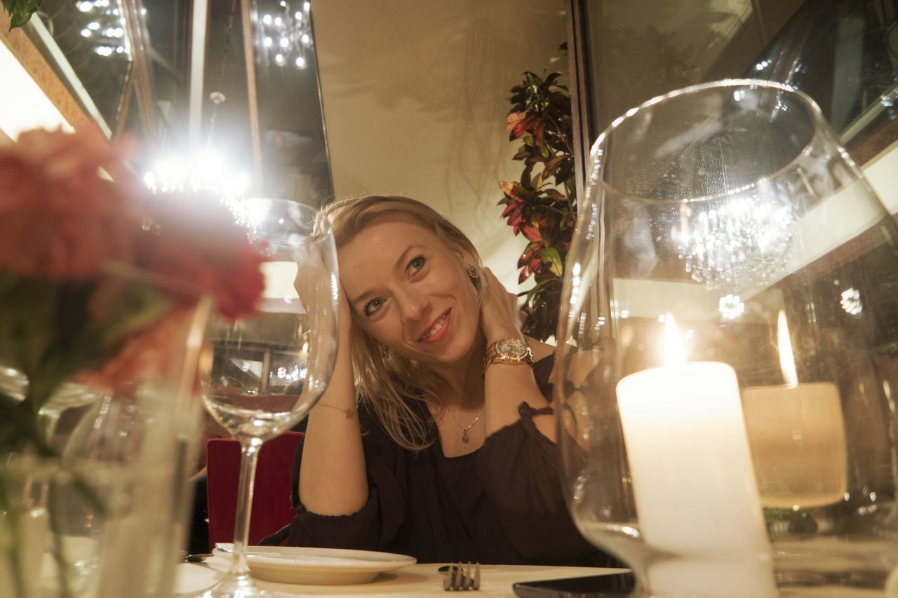 just dinner with nice smile girl Person Indoors  One Person Horizontal Adult Young Adult People Portrait Only Women Close-up Day Young Women Elegant Dressed Blond Hair
