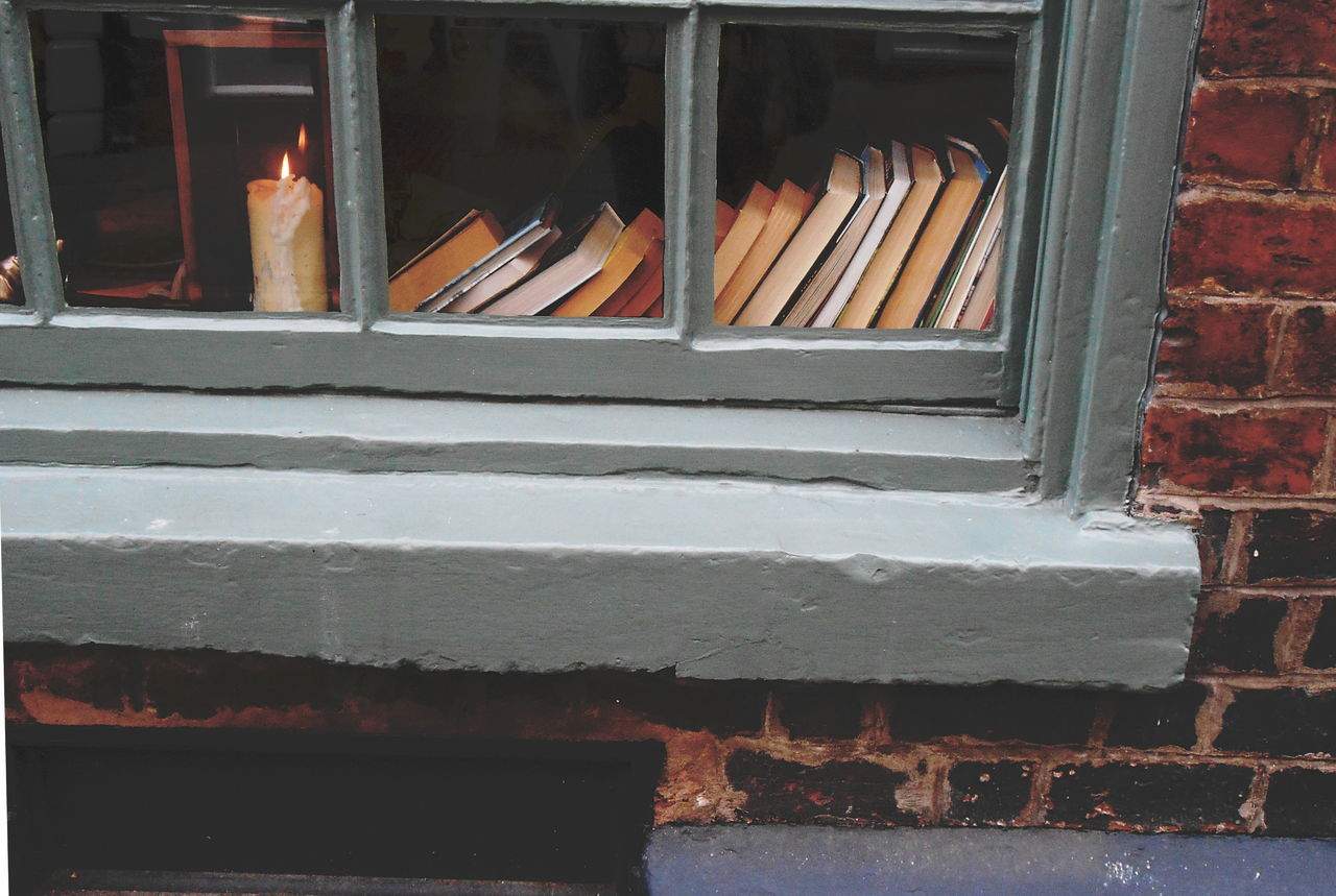 Books and Candles Books Bookshelf Britain Candle England Flame Knowledge Learning Light Old Fashioned Reading Street Window