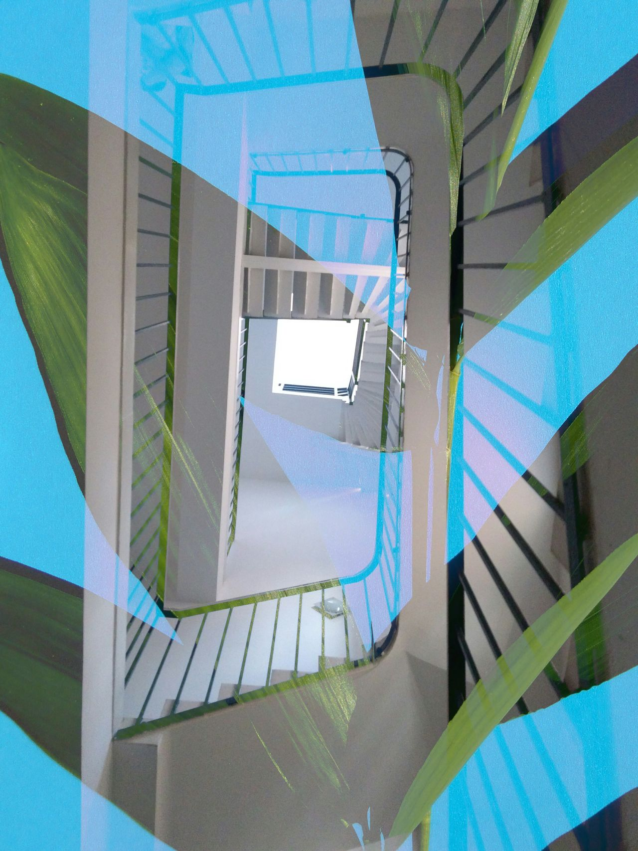 Steps And Staircases Staircase Architecture Steps Spiral Design Railing Built Structure Spiral Staircase Low Angle View Blue Color Blue Background Leaves Natural Vs Artificial Graphic Design Double Exposure Cut And Paste Collage Spiral Staircase