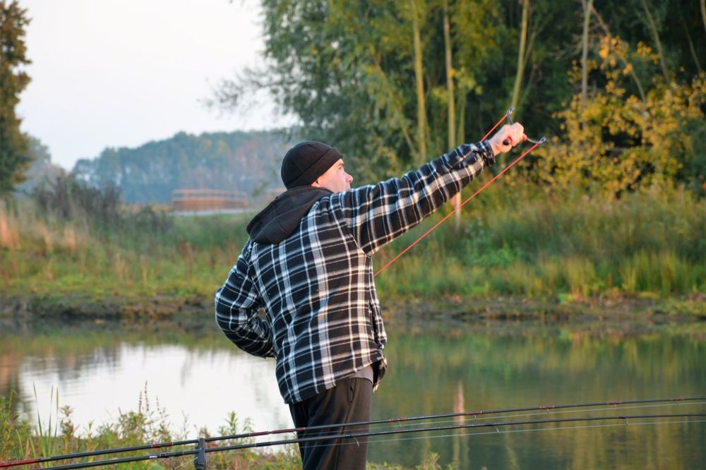 Adult Catapult Day Fishing Time Fishing Weekand Horizontal Men Nature One Man Only One Person One Young Man Only Only Men People Person River Water Young Adult Fishing Weekend Outdoors