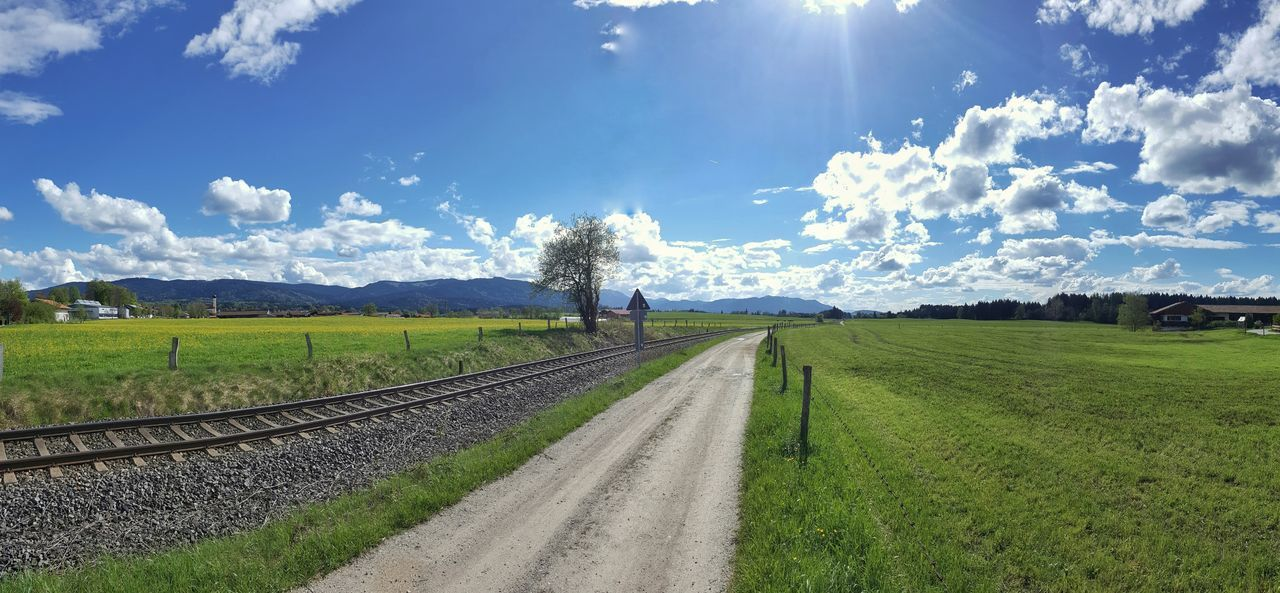Agriculture Field Rural Scene Sky Nature Cloud - Sky Outdoors Day Beauty In Nature Scenics Railroad Track Panorama Panoramic Landscape Bavaria Germany Way