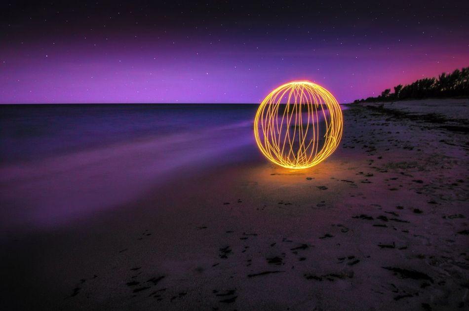Orbs Sphere Lightpainting Nightatthebeach Long Exposure Slow Shutter Jupiter Florida
