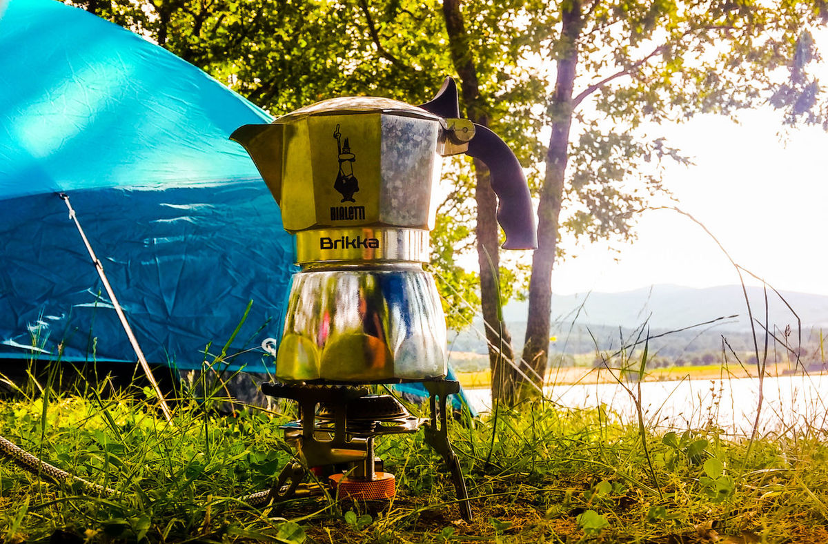 No People Grass Tree Nature Outdoors Day Naturelovers Enjoying Life Camping Tent Espresso Mokapot Bialetti Bialettibrikka Coffee Coffeelover Coffee Lover Espresso Coffee Espressotime Camp Hike Trekking Outdoor Photography