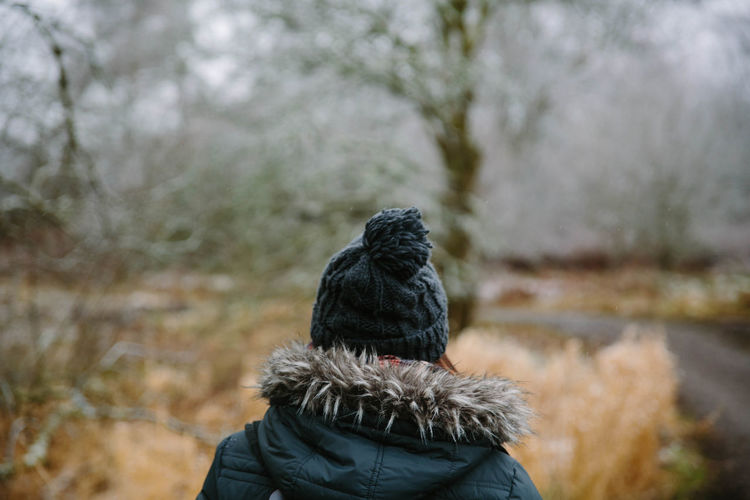 Behind Day Nature One Person Outdoors Real People Scotland Selective Focus Tree Warm Clothing Winter Winter Women Wool Hat