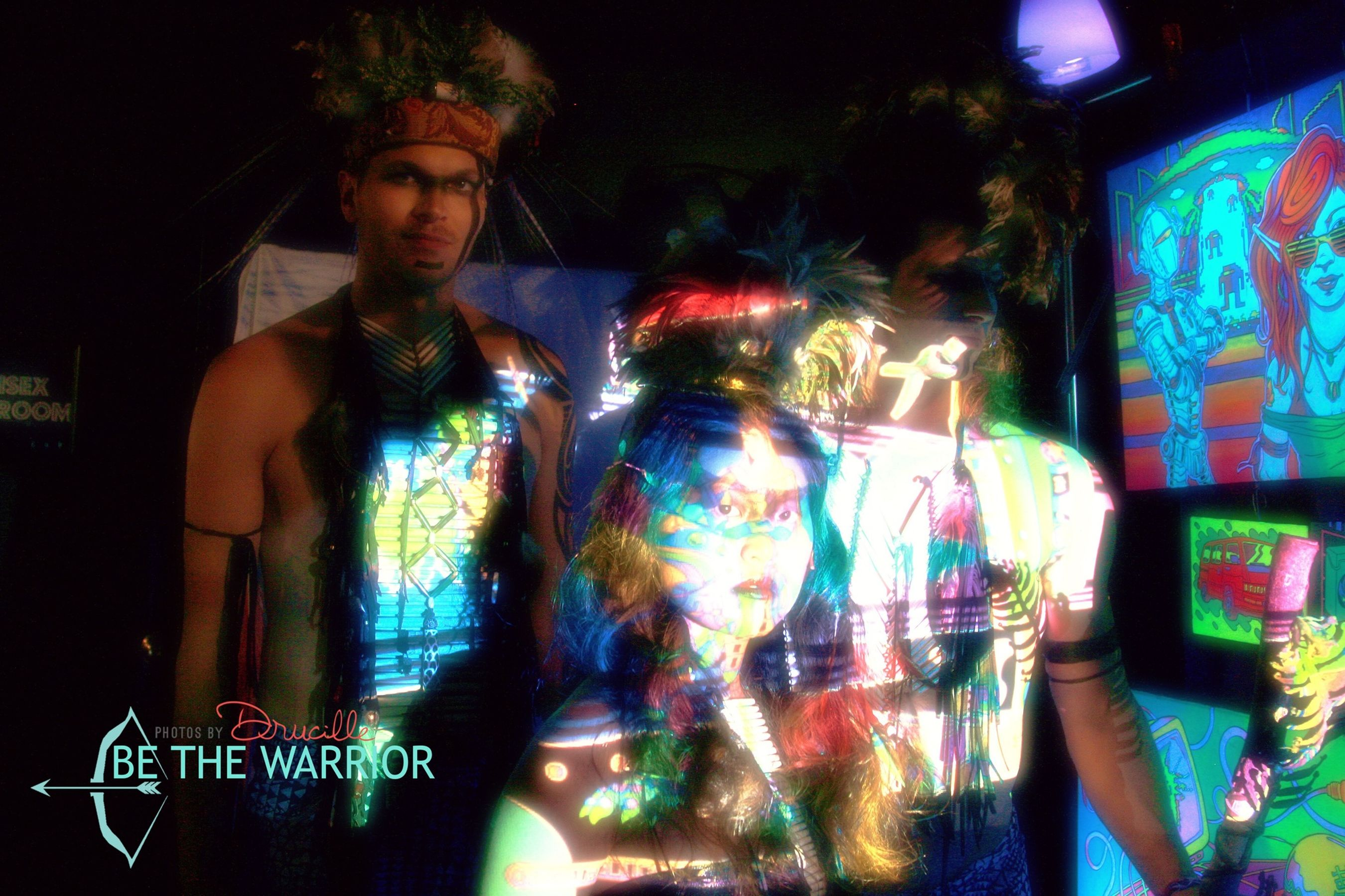 Another pic from our RAW Seattle Show at Club Neumos. Warriors galore. Warriors Tribal Art Primal Artistry Hawaii Burnning Man