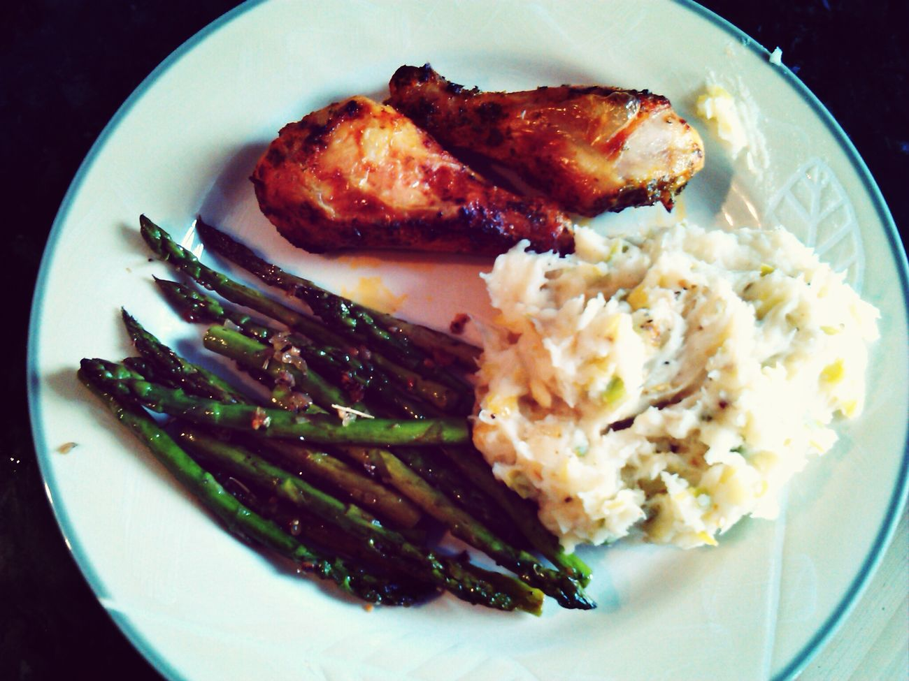 Dinner! Marinated Chicken, Fennel & Leek Mashed Potatoes, And Sauteed Asparagus...  YUM!!