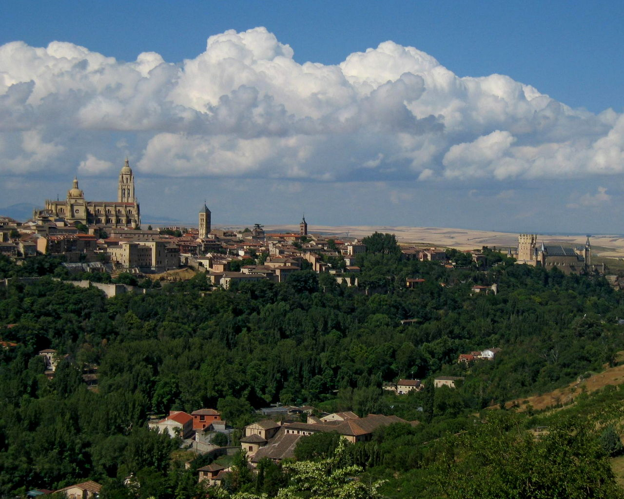 Segovia cityscape with Cathedral and Alcazar, Spain Alcazar Architecture Building Exterior Built Structure Cathedral City Cityscape Cloud Cloud - Sky Cloudy Day Distant Green Color Growth High Angle View Lush Foliage No People Outdoors Residential District Scenics Sea Segovia Sky Tree Wide Shot