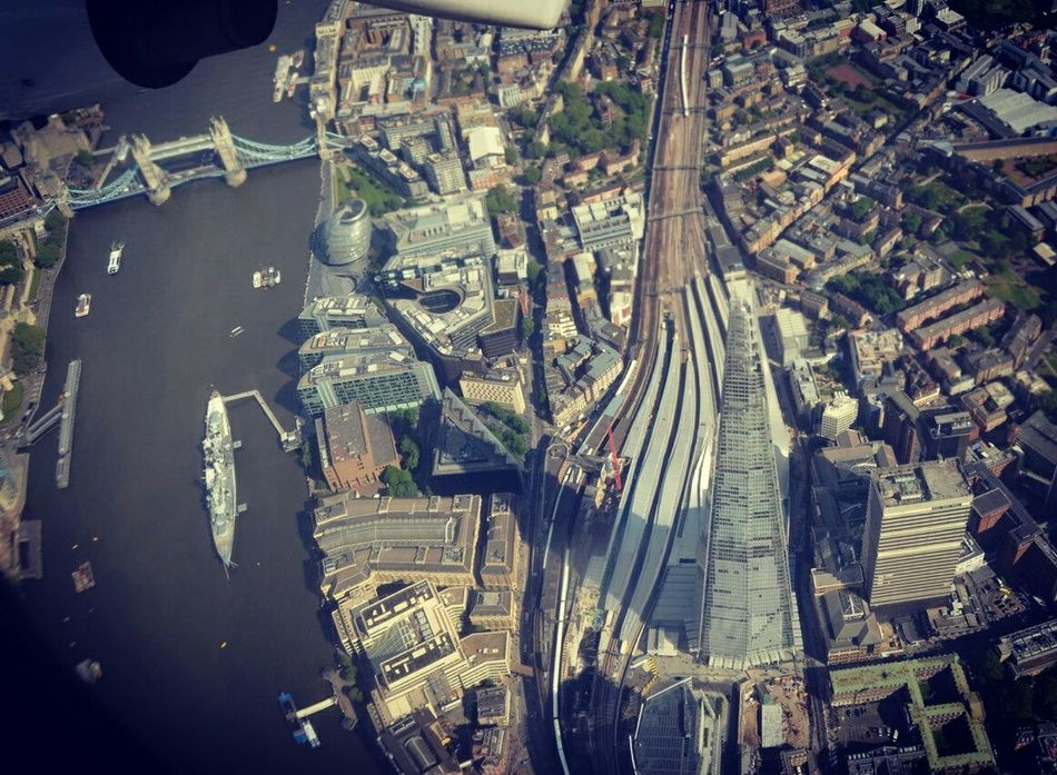 London Lifestyle Aerial View Cityscape Travel Tower Bridge - Man Made Structure Outdoors City The Shard Tower Bridge  Thames From Above  Cityjet City Airport LONDON❤ Skyscraper