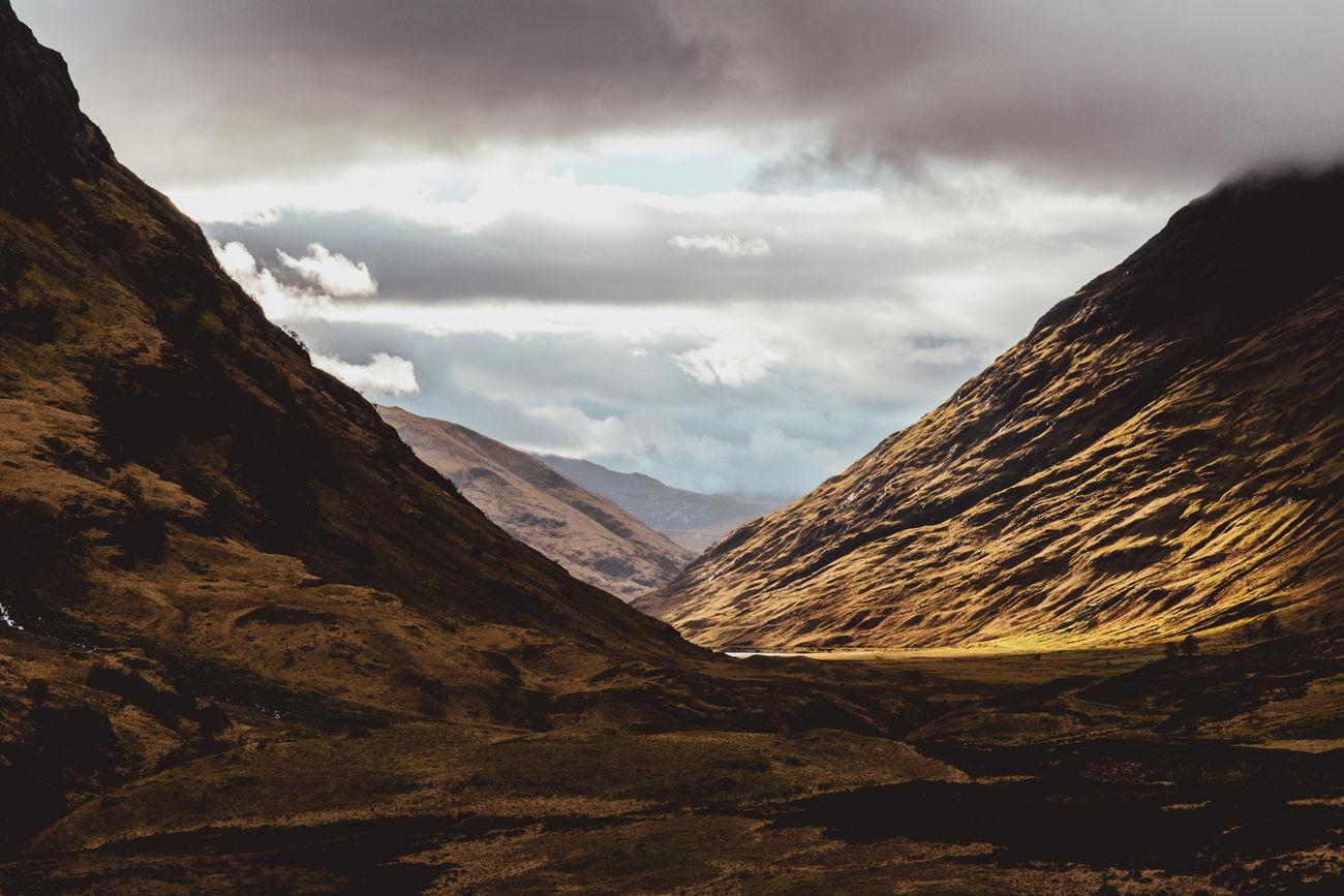 Glencoe, Scotland Beauty In Nature Glencoe Landscape Mountain Mountain Range Nature Outdoors Scotland Scottish Highlands Sky Sky And Clouds Valley