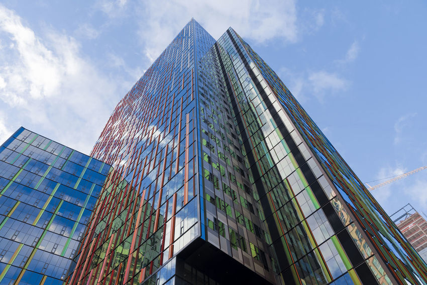 Modern office tower in downtown Seattle Washington very futuristic environmentally friendly architectural design circa 2015. Amazon World headquarters. Office Seattle Amazon Architecture Building Exterior Built Structure City Cloud - Sky Colorful Corporate Business Day Environmental Conservation Glass Growth Looking Up Low Angle View Modern No People Outdoors Sky Skyscraper Tall Towers World Headquarters