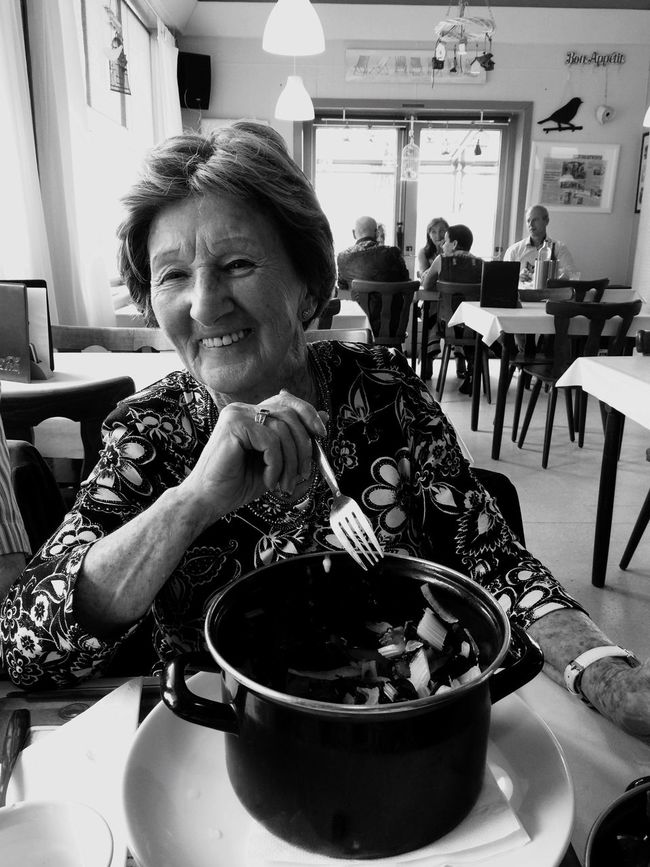 Food And Drink Lifestyles Drink Leisure Activity Indoors  Coffee Cup Headshot Person Refreshment Holding Freshness Coffee - Drink Sitting Food Young Adult Focus On Foreground Casual Clothing Ready-to-eat Person Enjoying The Mother  Mama Old Women 90 Years Enjoying A Meal